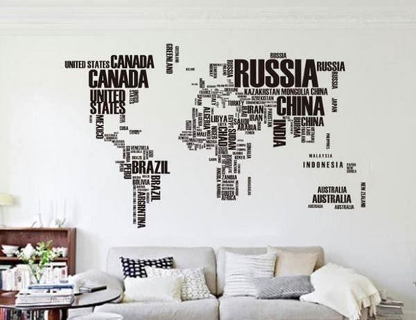 stickers carte du monde map monde design acheter sur. Black Bedroom Furniture Sets. Home Design Ideas